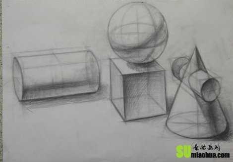 几个形体素描 素描中的形体结构