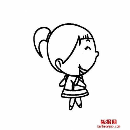 正面单马尾怎么画 扎马尾辫子女孩画法的女孩