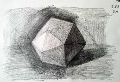 多边形体素描画法 学生铅笔画素描作品