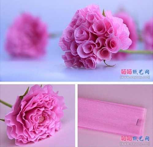 康乃馨皱纹纸制作图解 皱纹纸手工折纸花康乃馨的方法